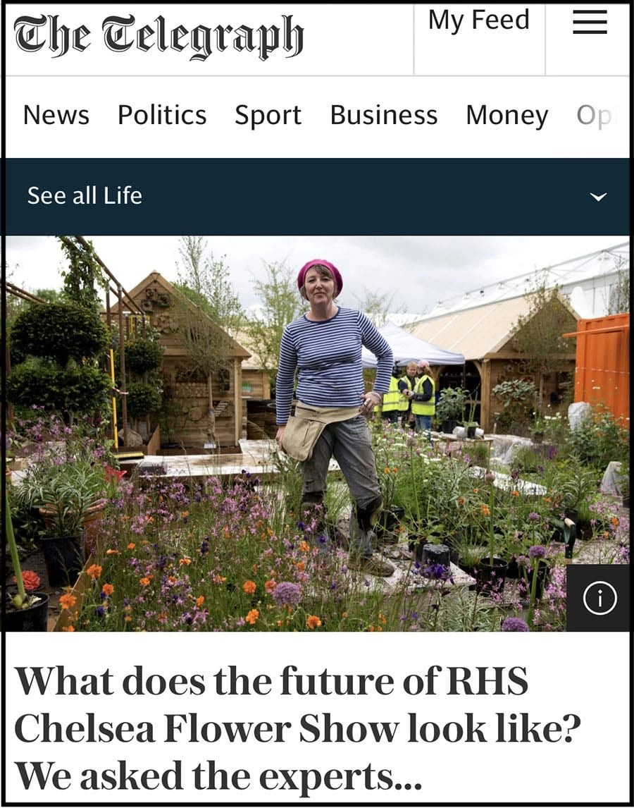 Ann-Marie Powell features in The Telegraph with ideas on the 2021 RHS Chelsea Flower Show