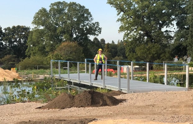 Award-winning designer Ann-Marie Powell on site at construction of major new garden at RHS Wisley