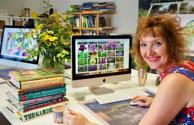 Award winning designer Ann-Marie Powell working on planting plans in the design studio