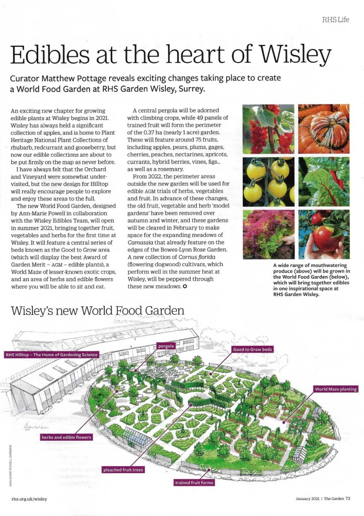 Wisley curator Matthew Pottage in The Garden magazine of new world food garden
