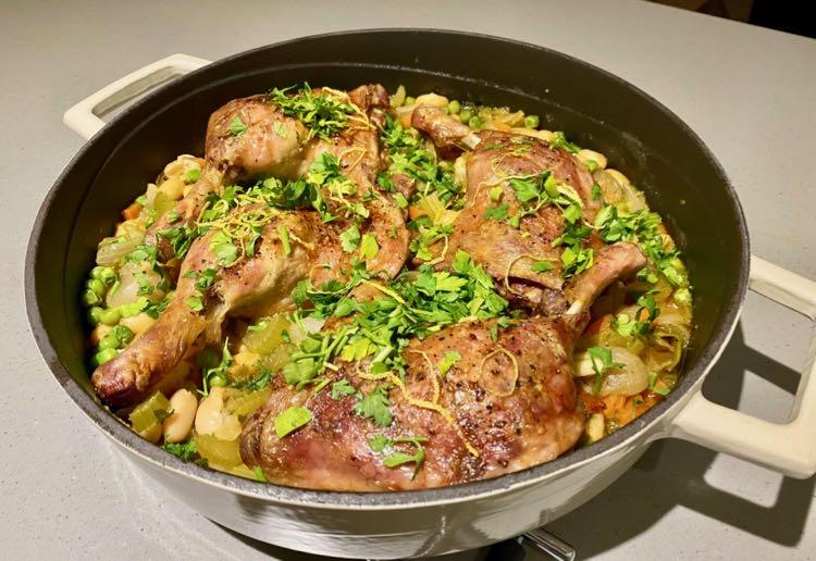 Crispy Roast Duck With Haricot Beans