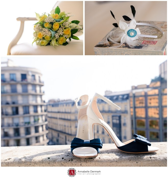 Fallon's shoes, bouquet and headpiece. The shoes are on the balcony overlooking a Paris street