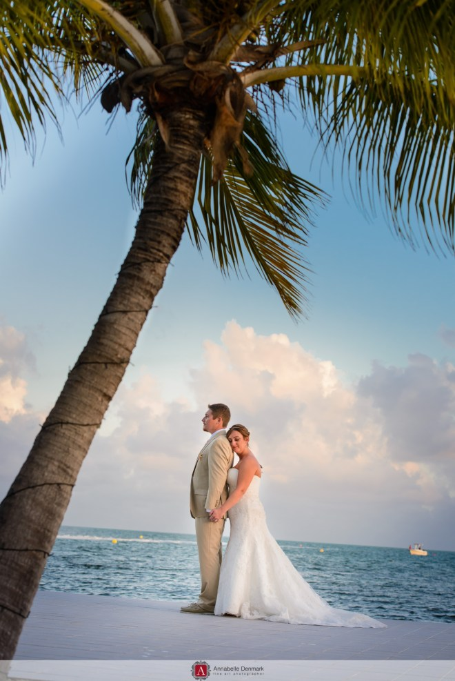 Romantic couple under the palm trees
