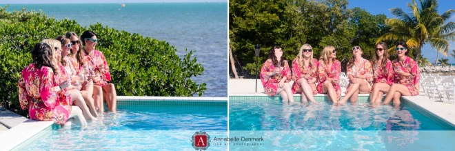 The bridesmaids, in their matching robes, taking it easy at the H2O's pool