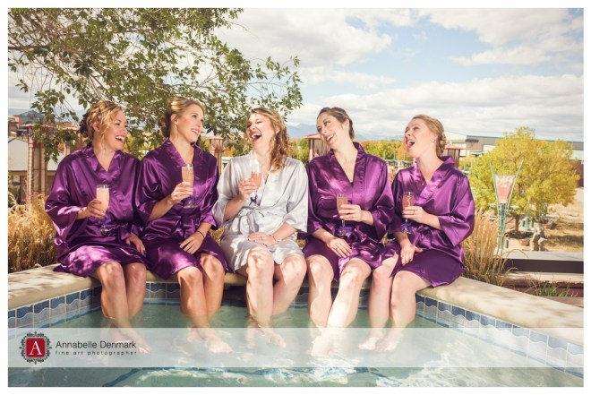 Megan and her bridesmaids by the hot tub