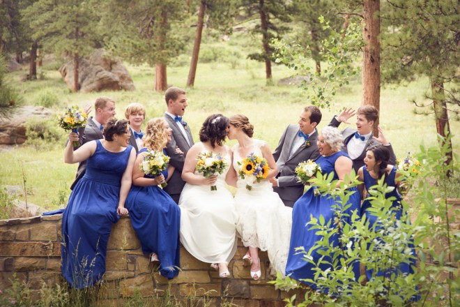 The wedding party on the bridge of the Della terra