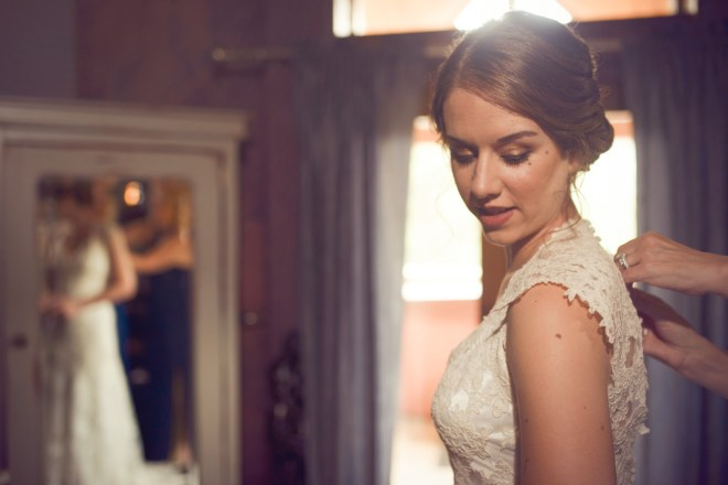 Bridal dress in Della Terra's Moon Suite