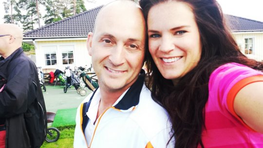 Christos Masters 2013 - Stefano Catenacci golfar med Anna Benson