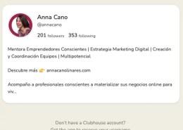 Bio Anna Cano en Clubhouse