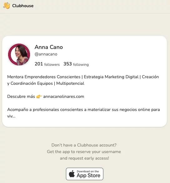 Bio Anna Cano en Clubhouse, Mentora de Emprendedores Conscientes