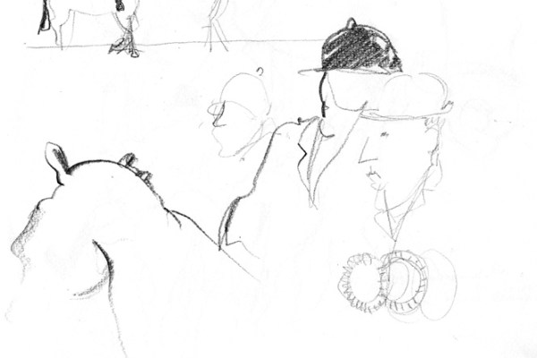 Drawing of horse riders.