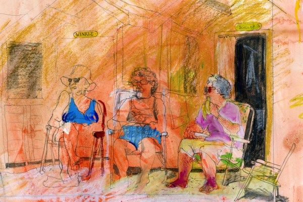 Drawing of 3 ladies sitting in front of a row of beach huts