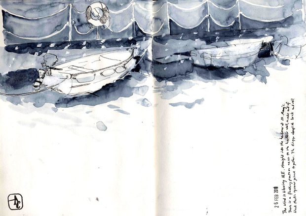 Drawing of dinghies tied up to a pontoon.