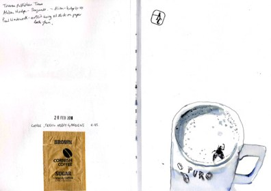 Drawing of a cup of coffee with a dead fly in it.