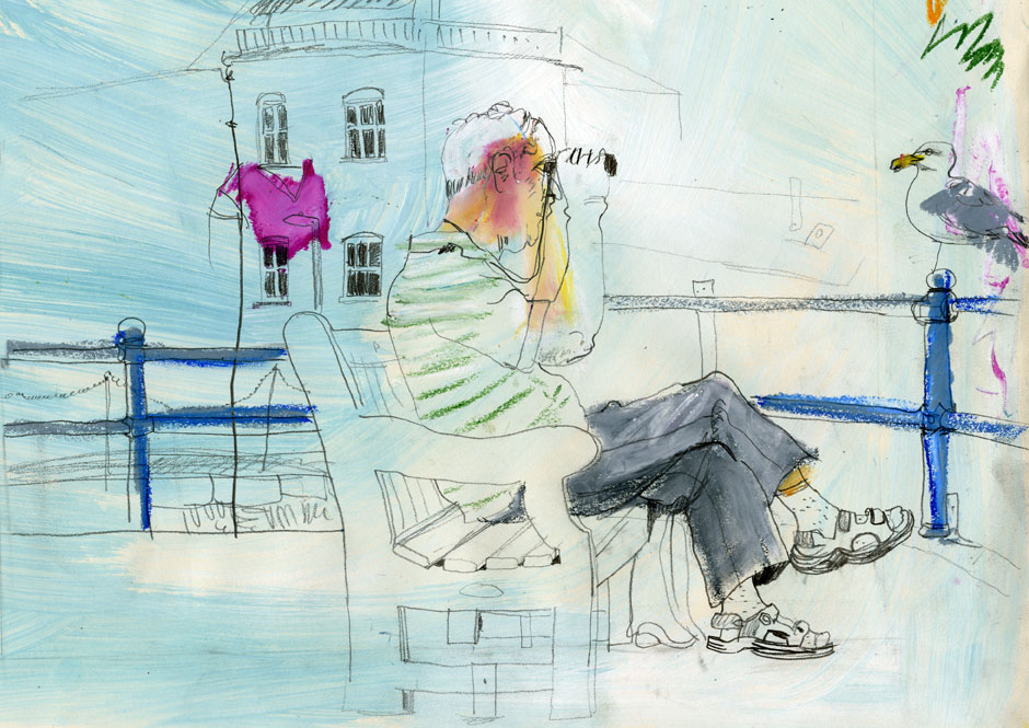Drawing of a man sitting on a bench with some binoculars.