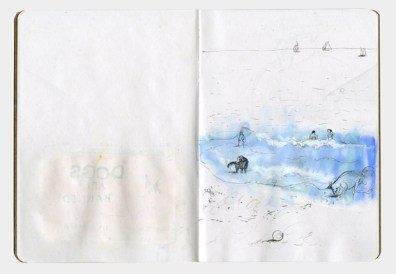 Drawing of people swimming in the sea and dogs playing in the surf.