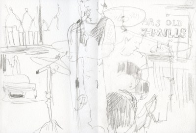 Pencil drawing of the drummer and singer in a band