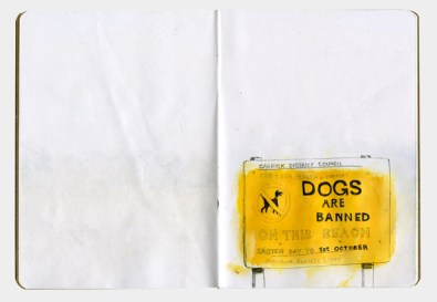 Drawing of a sign which says that dogs are banned on the beach Easter day to the 1st October
