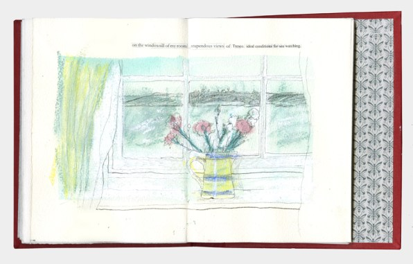 View of the sea and Tresco with flowers in a vase on the windowsill