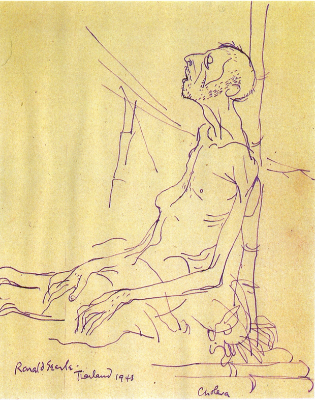 Drawing of a man with cholera