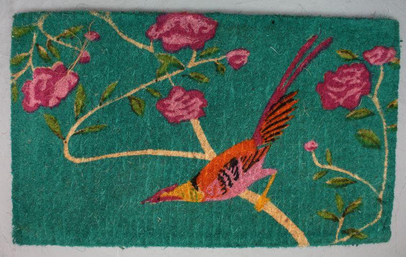 Coir Doormat - Turquoise Bird