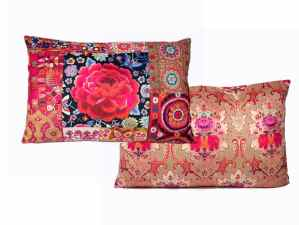 Rectangle Velvet Cushion Boho Pink and red embroidery 60 x 40 cm