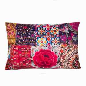 Rectangle Cushion Velvet Pink and Soft Red Embroidery Boho Look 60 x 40 cm with insert