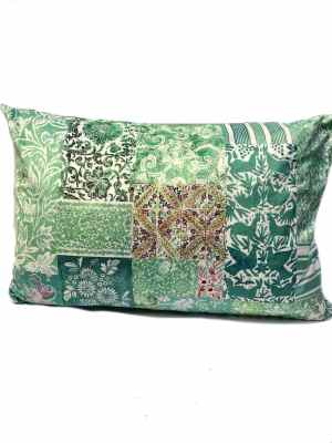 Velvet Rectangle Cushion Green Primavera 1 60x40 cm with insert