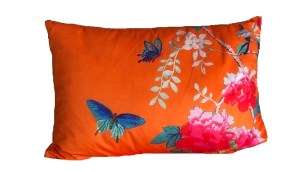 Rectangle Velvet Cushion Orange with blue butterflies and pink peonies