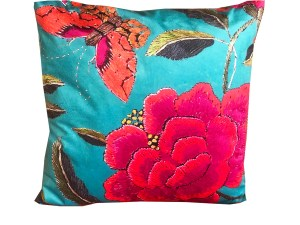 Square Cushion Velvet Big Peony and Butterfly Turquoise