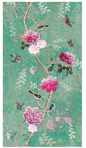 Tablecloth Canvas Chinoiserie Green 250 x 150 cm