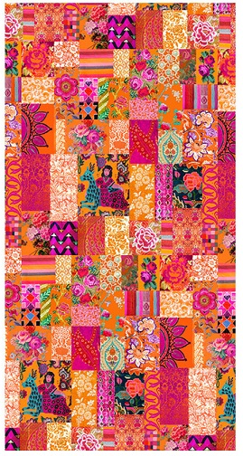 Tablecloth Canvas Orange Tangerine Patchwork 250 x 140