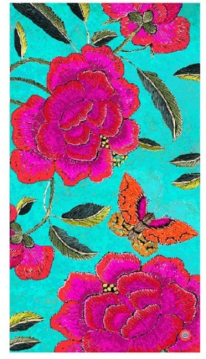 Tablecloth Canvas Big Pink Peony Turquoise Background