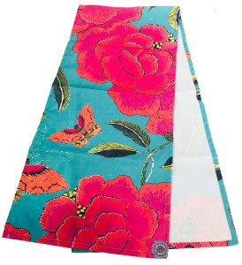 Table Runner Canvas Turquoise with big Pink Peony