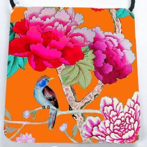 Velvet Shoulder Bag Orange BIrd
