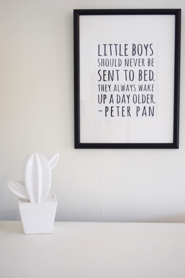 """a white cactus statue on top of a dresser with a framed print above it reading, """"little boys should never be sent to bed. They always wake up a day older- Peter Pan"""""""