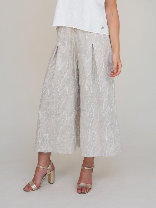 pantaloni in tessuto di lino con ricami a rilievo