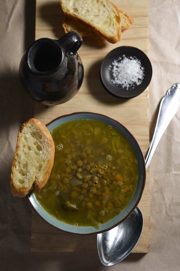 Lentil & Coppa Soup served with Olive Oil Croutons