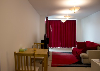 The main living space - red is a big colour theme here.