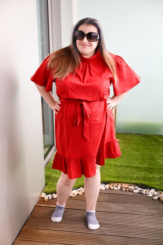 Petite Rust High Neck Frill Mini Dress