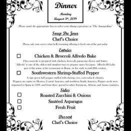 Dinner Menu - 08-05-19