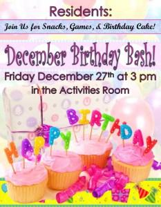 assisted living december birthday bash flyer