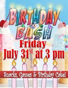 july birthday party flyer