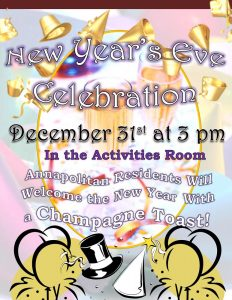 assisted living new years eve party flyer