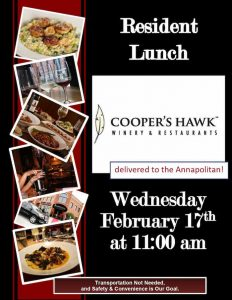 assisted living catered lunch flyer