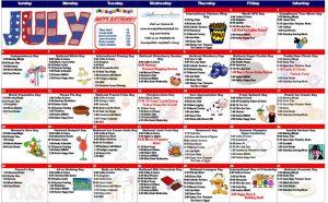 image of july activity calendar