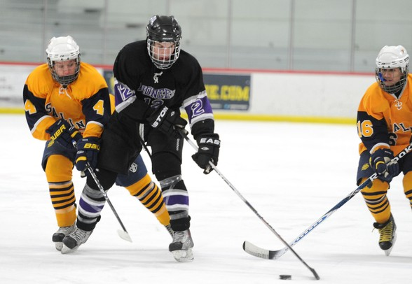 Images from the Pioneer hockey team's playoff win over Saline