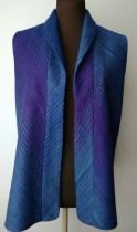 """Bias Blue Vest"" by Barb Schutzgruber www.weavestory.com"