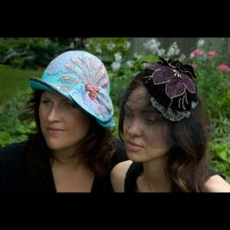 """Aqua Cloche and Black Fascinator"" by Anne Flora Wet-felted cloche & artist's design beaded fascinator www.floraworks.org"