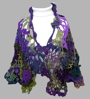 T Voigt Free Form Crochet Cape